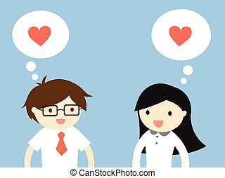Feeling love each other. - Business concept, Love in office...