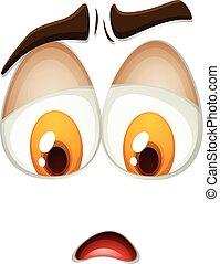 Feeling sad expression on white illustration
