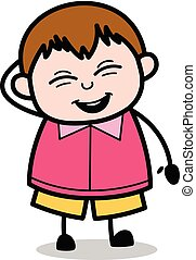 Feeling Shy - Teenager Cartoon Fat Boy Vector Illustration