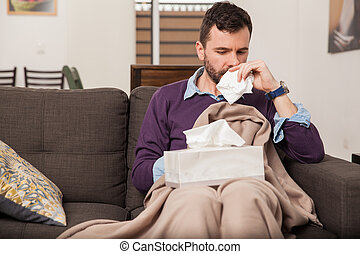 Feeling sick with the flu at home
