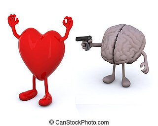 heart and human brain with arms and legs, brain has a gun and points it at the heart who has his hands up