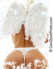 feels like christmas heaven - back of lady in white lingerie...