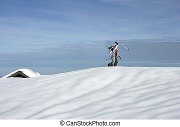 feestdagen, op, skitoevlucht