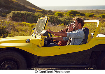 feestdagen, samen, zomer dag, het glimlachen, paar, gaan