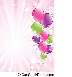 feestelijk, ballons, en, lightburst