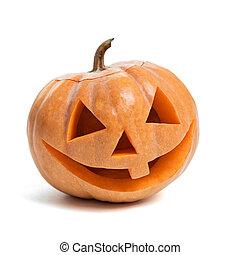 feestelijk, halloween, gekerfde, pompoen
