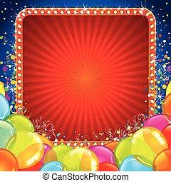 feestelijk, jarig, spandoek, met, kleurrijke ballons