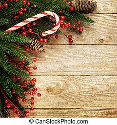 feestelijk, kerstmis, pijnboom, op, houten, achtergrond, met, ruimte, voor, jouw, tekst