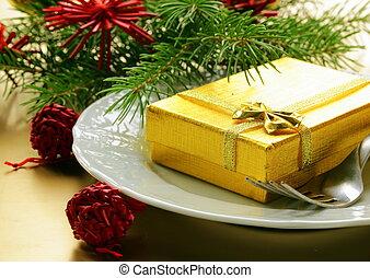feestelijk, kerstmis, tafel te zetten
