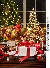 feestelijk, tafel te zetten, met, rood lint, cadeau