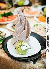 feestelijk, trouwfeest, tafel, voor, diner, op, de, restaurant