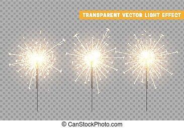 feestelijk, versiering, verlichting, sparkler, kerstmis, element.