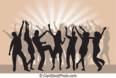 feestje, 2, menigte