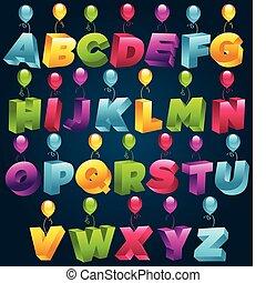 feestje, 3d, alfabet