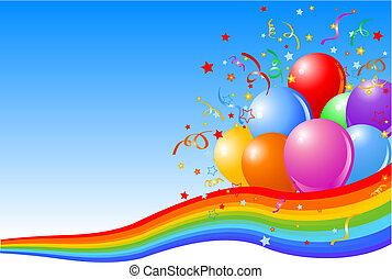 feestje, achtergrond, ballons