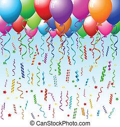 feestje, achtergrond, met, ballons