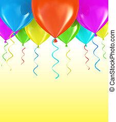 feestje, ballons, achtergrond, 3d