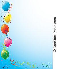 feestje, ballons, en, confetti, grens
