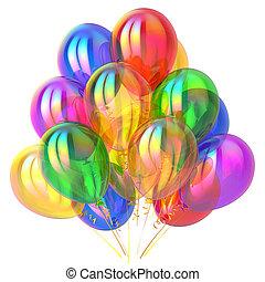 feestje, ballons, jarig, versiering, veelkleurig, glanzend