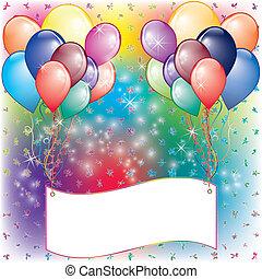 feestje, ballons, kaart, uitnodiging