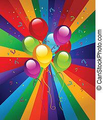 feestje, ballons, kleurrijke