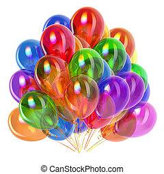 feestje, ballons, kleurrijke, jarig, versiering, veelkleurig