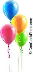 feestje, balloon, jarig, set