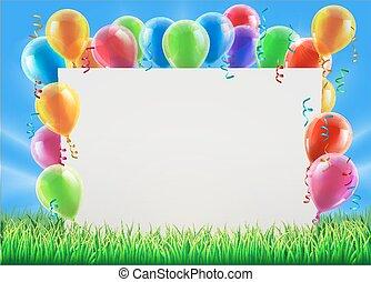 feestje, balloon, meldingsbord