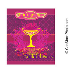 feestje, cocktail, kaart, uitnodiging