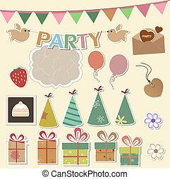 feestje, communie, ontwerp, plakboek