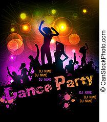 feestje, disco, poster
