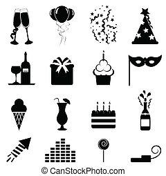 feestje, en, viering, iconen