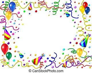 feestje, frame, ballons, carnaval
