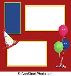 feestje, frame, jarig, mal, plakboek