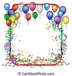 feestje, frame, met, ballons