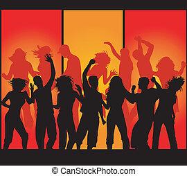 feestje, funky, menigte