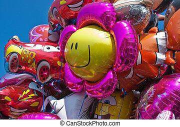 feestje, geitjes, ballons, wating, kleurrijke