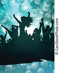 feestje, grunge, achtergrondmensen