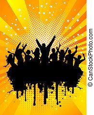 feestje, grunge, menigte