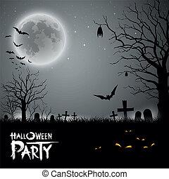 feestje, halloween, achtergrond, schrikaanjagend
