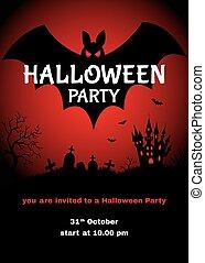 feestje, halloween, ontwerp, mal