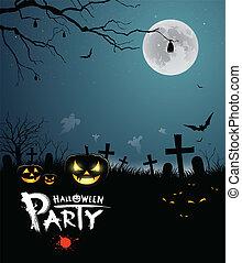 feestje, halloween, ontwerp, schrikaanjagend