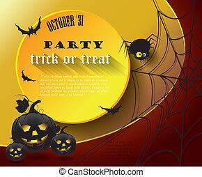 feestje, halloween, poster, message.