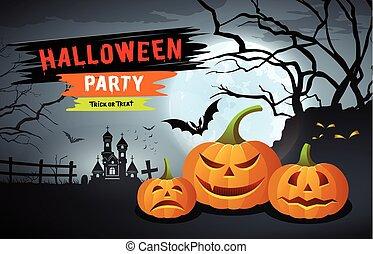 feestje, halloween, vrolijke