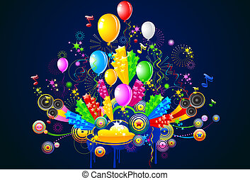 feestje, illustratie, viering
