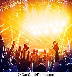 feestje, in, nachtclub