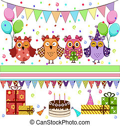 feestje, jarig, set, uilen