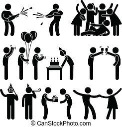 feestje, jarig, vriend, viering
