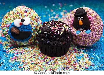 feestje, kind, versuikeren, cupcake