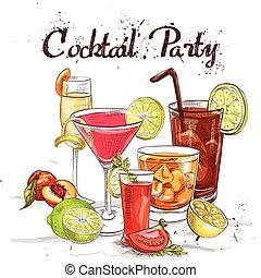feestje, klassiekers, set, tijdgenoot, cocktail